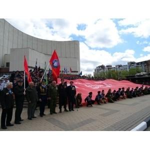 В Белгороде знамя «Победы» встретили парадом кадетских классов области